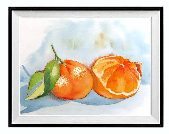 Kitchen Decor Wall Art, Fruit wall artwork, Orange art print, Tangerine art painting, .