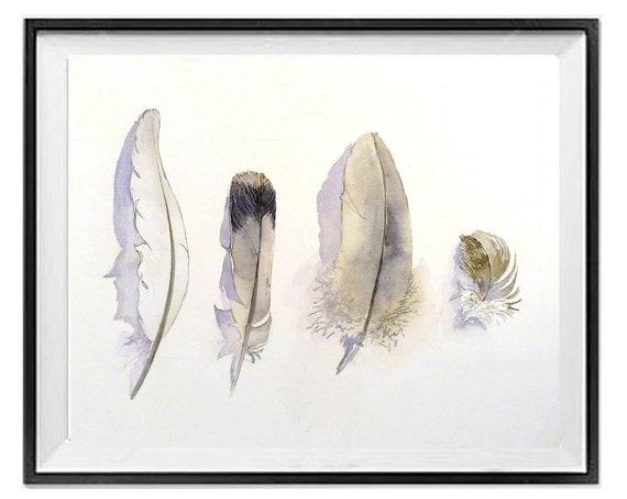 Bird feather print, Tribal art prints, Feather print wall art, Black white feather, .