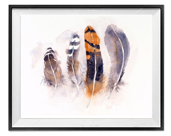 Bird Feather Print, Feather print wall art, Orange black prints, .