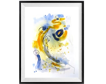 Fine Art Print Contemporary print, Yellow Abstract painting, Blue Abstract print, Modern Watercolor,  .