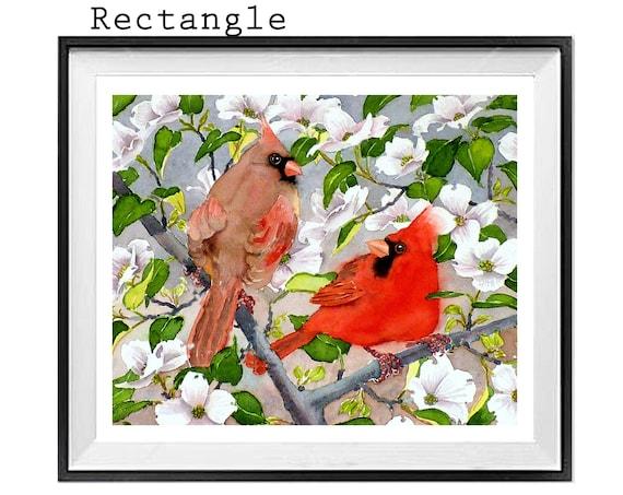 Bird Art Print, Cardinal Birds Wall art, Red BIrd, Flower tree wall art, Spring flower print, .
