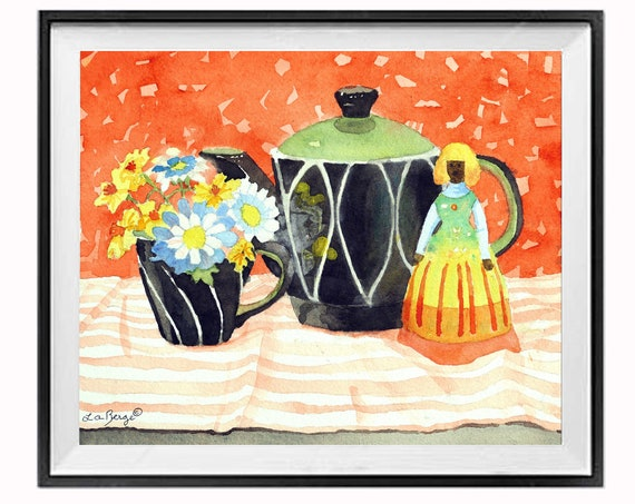 New Original Still Life Painting, Watercolor Floral Painting, Coffee tea pot cup, Orange Black painting, .
