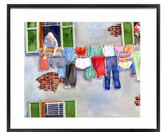 Italian Laundry Artwork, Laundry Room Poster, Hanging clothes to dry, Clothes Line art, Watercolor, .