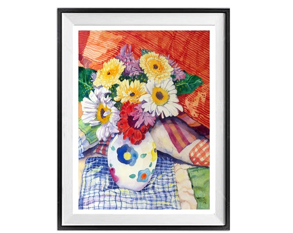 Floral Still life, Flower Bouquet painting, Watercolor Flowers, Quilt painting Print, Giclee Red Blue Painting, Watercolor print, Art Sale