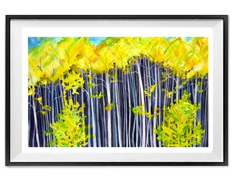 Colorado Forest Painting Wall Art, Autumn tree poster wall art, Aspen trees Fall forest poster, Art gift mom dad, Watercolor art, .