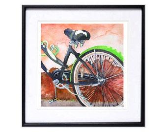 Green, Bicycle, Illustration, Bicycle art print, Bicycle, landscape, artwork, Watercolor print, Bikes, of ,San Francisco, Trendy Wall Art N