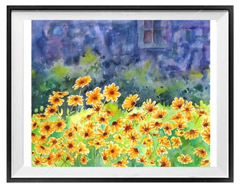 floral wall art Yellow flowers, Original painting, Summer art, Happy painting, For the fun of it, garden scene, spring art,  15x19
