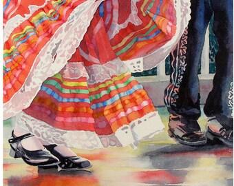 Mexican Prints, Cinco de Mayo, Mexican wall decor, Art Sale, Mexican folk art, Folk art  costume Art prints, Mexican dance, Watercolor print