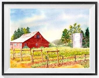 Vineyard Art, Original, Watercolor painting, Old red barn, Barn Landscape, Vineyard Landscape, Napa Valley, Vineyard, Wine county art