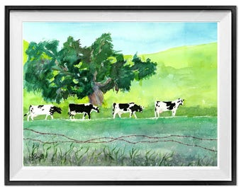 Cow art, cow painting, Green landscape painting, Holstein, Dairy cow original painting, Tree paintings, Original painting, Farmland wall art