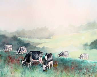 Farmland Landscape, cows, Farm wall art, Watercolor, Art Print, Dairy cows, landscape painting, Watercolour, green painting, misty morning