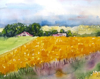 Farm landscape Art, Watercolor Print, Vibrant yellow, Safflowers, Farm art print, California farms, Countryside painting, Yellow painting