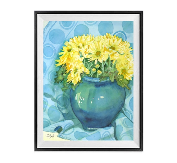 Original Floral Wall Art Painting, Archival painting flowers, Yellow Flowers Vase, Yellow blue painting, 14x 11, .