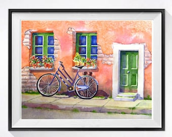 Bicycle Art Prints Italian landscape Window art prints watercolor painting Coral colored watercolor painting Flower boxes Bicycle wall art N