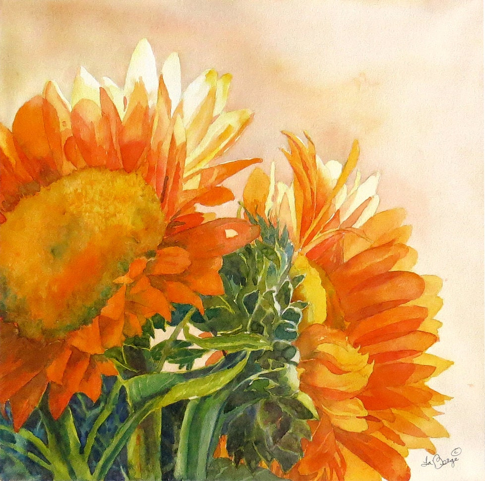 Floral Art Print, Flowers, Sunflowers in Paintings, Floral Wall art ...