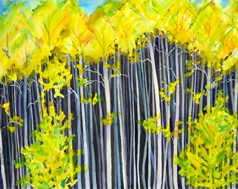 Forest Art, Colorado, Tree painting, Landscape, Nature painting, Watercolor art print, Dark, Woods print, Wilderness, Yellow painting