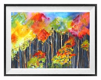 Art Print, Aspen Forest, Sale, Print, Watercolor Landscape, Forest, Painting, Fall painting, Colorado, Aspen trees, Rainbow, Bright colors