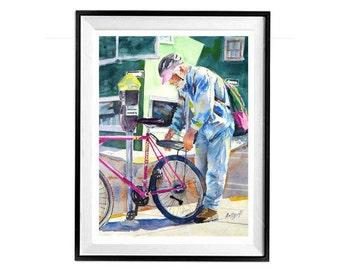 Bicycle,Art original,Bicycle art,Watercolor bicycle,Bike art,Cycling art,Pink bike,Berkeley,Biker,Southwest Art magazine,Muren 11x14
