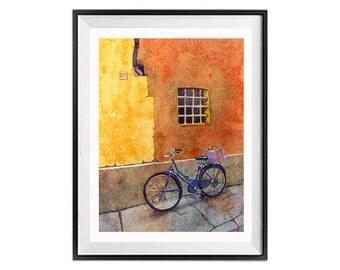 Watercolor Bike Prints, Bicycle Art Prints, Bikes, Window art, Italian windows, Bike wall art, windows, Orange wall art, Urban landscape