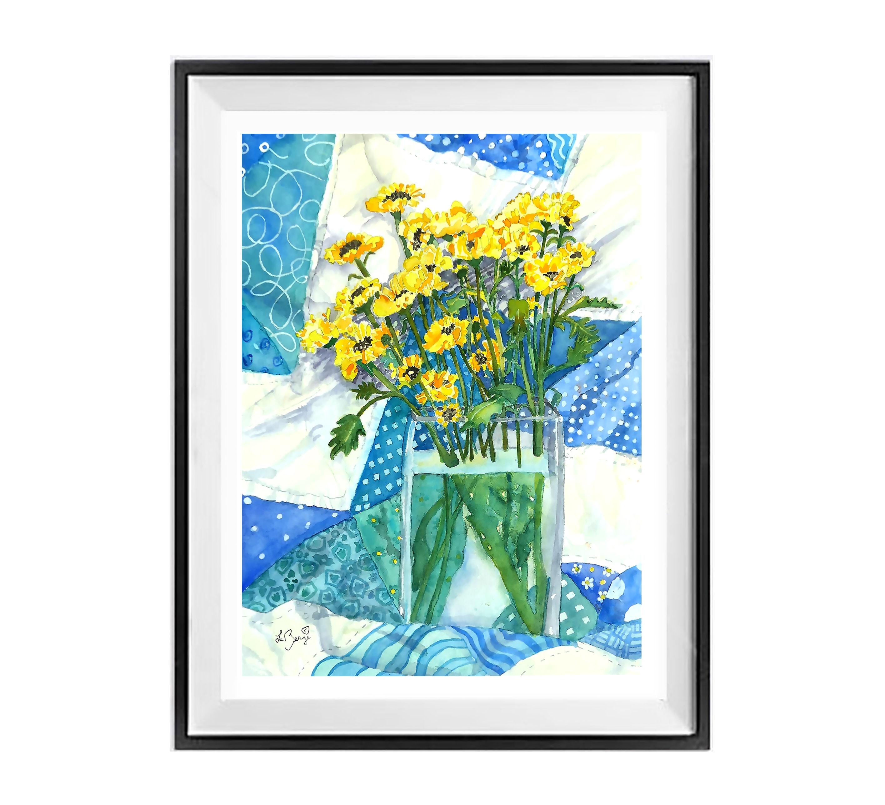 Yellow Blue Flower Still Life Poster Floral Quilt Art Foster Floral Wall Art Print Fall Flowers Bouquet
