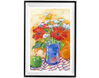 Floral Painting, Red orange flower Giclée, Still life Orange Red, Floral giclée canvas, Watercolor, Free Shipping, .