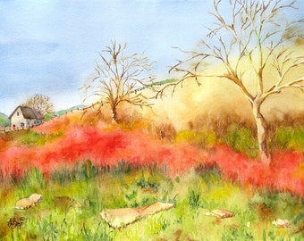Landscape Painting Watercolor Print Trees and farm scene Farmhouse decor California Yellow wall art Red painting Green art Natural Beauty N
