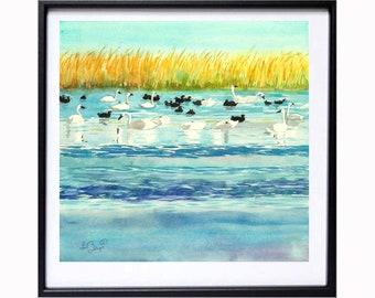 Nature Water Landscape Swan Print, Water fowl painting, Bird Sanctuary, Blue Orange woodland art print, .