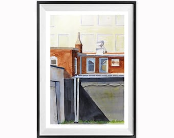 Urban landscape, Cityscape, Original Fine Art, Painting, Geometric art, layers, Architecture, Watercolor painting, WatercolorByMuren, 18x12