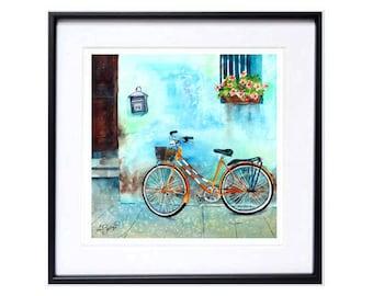Bicycle Illustration, Red bicycle art, Bike art, Bicycle landscape artwork, Trendy wall art, San Francisco, Watercolor print, old windows, N