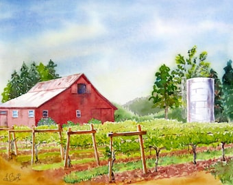 Vineyard Art Old red barn Landscape Scenic Vineyard Landscape  Painting Watercolor art print  Napa Valley vineyard Wine county art