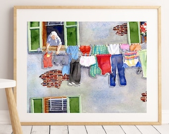 Laundry line Giclee,  Laundry wall art, Watercolor poster, Gift woman, Italian laundry, Hanging cloths, Free shipping, .