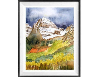 Colorado Landscape, Impressionist, Wall art, Mountain  landscape, Sale, Nature, Home decor, Original, Painting, Watercolor, Print