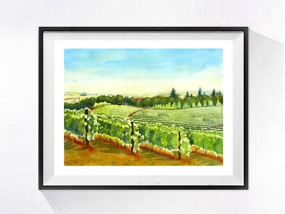 1 Vineyard art Print Landscape painting Green painting | Etsy