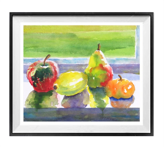 Kitchen art prints, Fruit Still Life Print, Fruit window sill, Red yellow Painting, Watercolor fruits, Art Sale