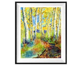 Colorado Prints Aspen Forest, Best seller, Colorado Watercolor prints, Forest Landscape, Shipping Sale, .