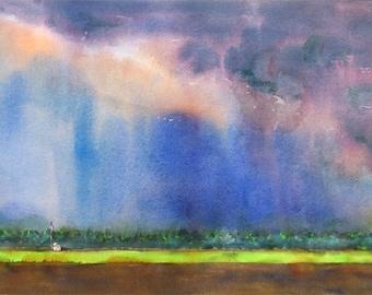 Summer Storm, California Landscape, Art Print, Watercolor Print, Rainy, Stormy Sky, Farm Land painting, Blue print, Colorful, Sky painting