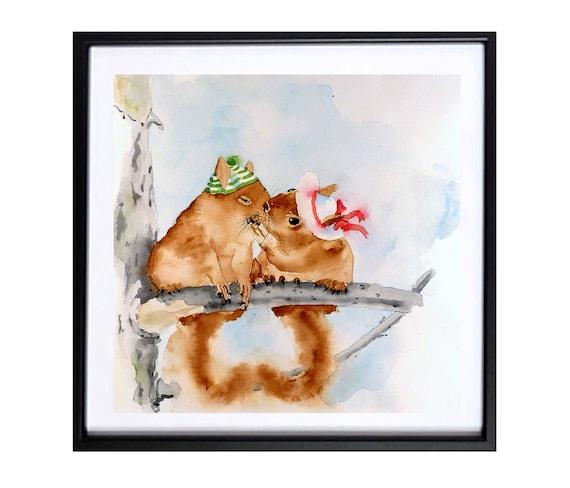 Animal Squirrel Art Print, Squirrel children's room, Chip monk artwork playroom, Animal Watercolor, .