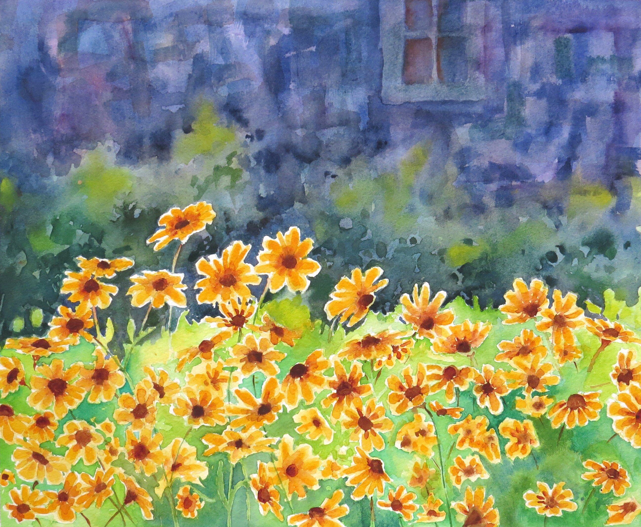 floral wall art Yellow flowers, Original painting, Summer art, Happy ...