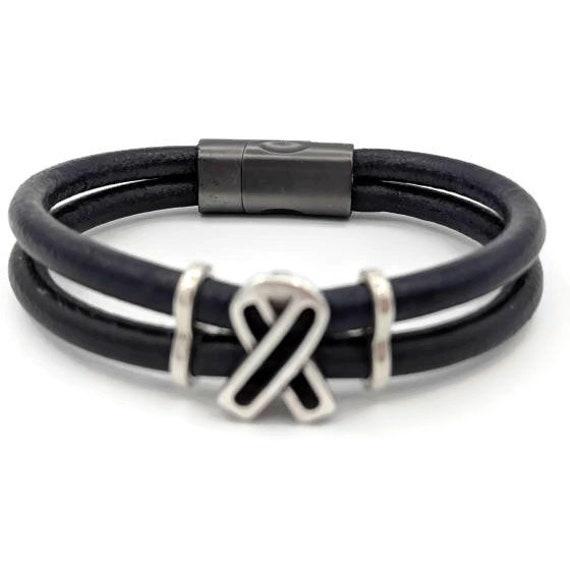 Dark Blue Leather L Colon Cancer Awareness Bracelet Etsy