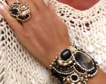 Black Gold cuff Bracelet-Unique Asymmetrical Cuff in Champagne Pearls and Rhinestones/Statement Cuff/Dressy Cuff/Classy Cuff/Huge Cuff 4071b