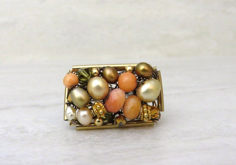 Gold  /& Orange Ring Wire wrapped Ring in Orange Semi Precious stones Coral Hip Rectangular Horizontal Ring Wired in Gold Fill Size 7