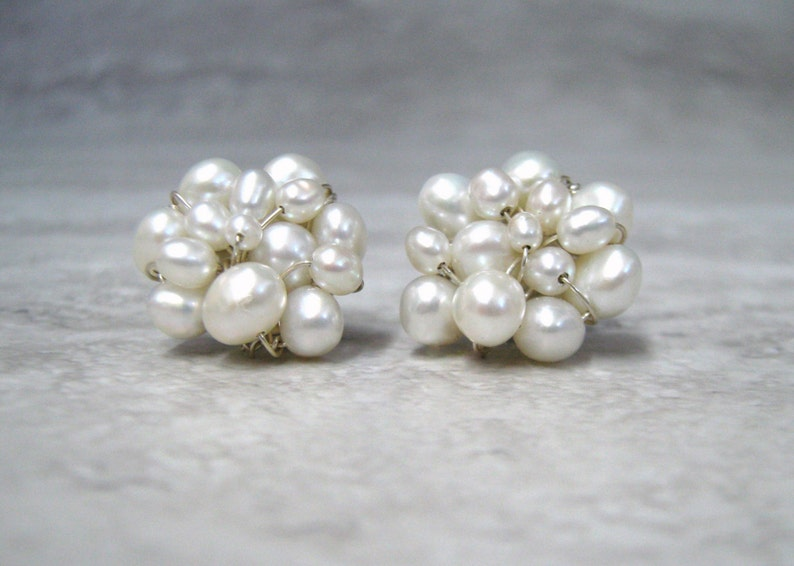 b48452ec1 Pearl Cluster Earrings Small Fresh Water Pearl Bridal Cluster | Etsy