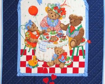 Baby Quilt, Tummy Time Blanket, Floor Mat, Vintage Teddy Bear Picnic Panel