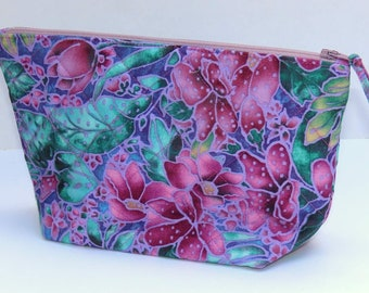 Quilted Fabric Makeup or Cosmetic Bag, Turquoise Green and Purple Floral