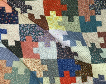 Crib or Lap Quilt, Jigsaw Puzzle Throw Blanket, Scrappy Vintage Calico Prints, Autism Awareness