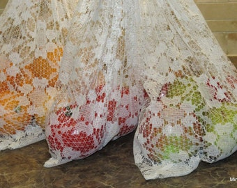 Upcycled Mesh Lace Curtains Zero Waste Produce Bags set of 3