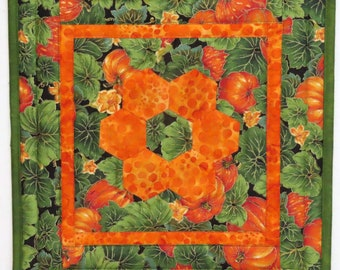 Quilted Table Topper, Centerpiece, English Paper Pieced Hexagons, Halloween Pumpkins and Leaves