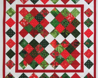 Reversible Table Topper, Christmas and Bluebirds, Pieced and Quilted Centerpiece