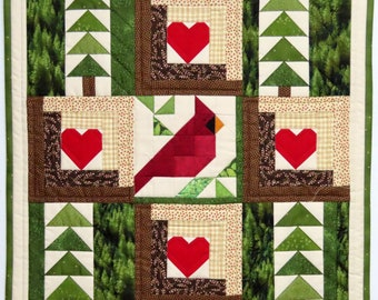 Art Quilt, Pieced Wall Hanging, Cardinal, Trees and Log Cabin Blocks