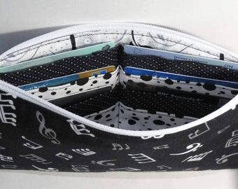 Wallet, Wristlet, Clutch, Black and White, Music Notes, Detachable Fob